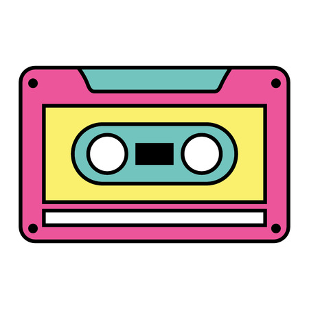 古いレトロなオーディオテープレコードリスニングベクトル照明  イラスト・ベクター素材