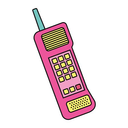 Vieja ilustración de vector de icono de comunicación vintage de teléfono móvil Foto de archivo - 94416823