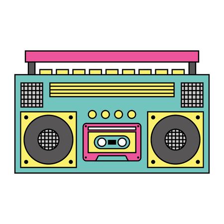 Retro stereo cassettespeler muziek recorder vectorillustratie