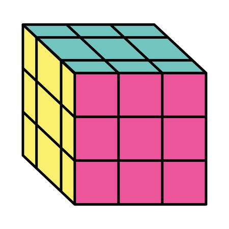 Cube toy puzzle vintage icon vector illustration Illustration