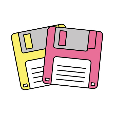 Two floppy memory vintage backup vector illustration Иллюстрация