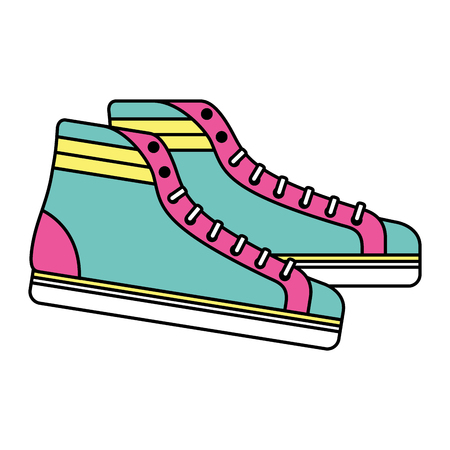 Vintage classic sneakers laced fashion retro vector illustration