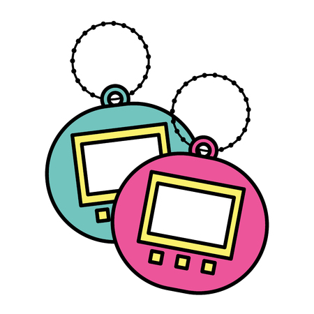 Two toy electric tamagotchi device pocket vector illustration Reklamní fotografie - 94416834