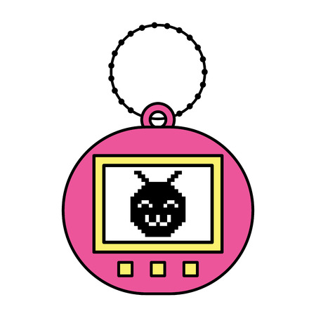 Tamagotchi game with pixel animal pet simulator vector illustration