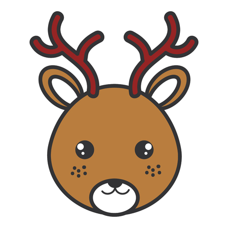 Cute and tender reindeer head character vector illustration design Illustration