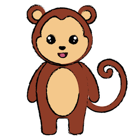 cute and tender monkey character vector illustration design