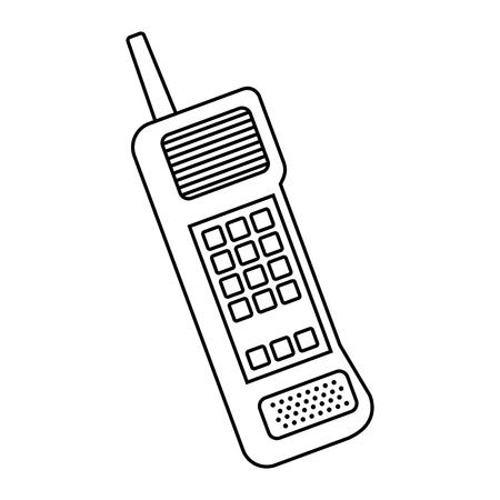 Old mobile phone vintage communication icon vector illustration