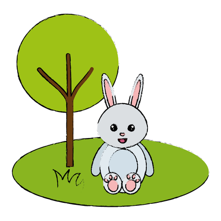 Cute and tender rabbit in the park character vector illustration design 일러스트