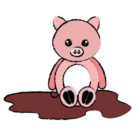 沼のキャラクターベクトルイラストデザインで可愛くて柔らかい豚