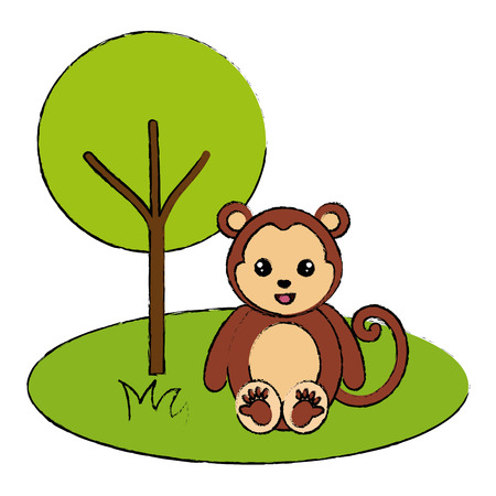 Cute and tender monkey in the jungle character vector illustration design 일러스트