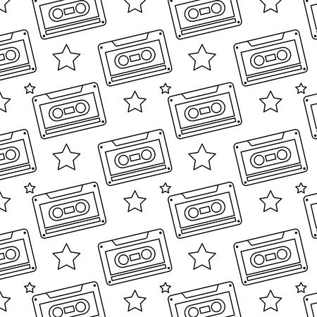Seamless pattern retro cassette tape recorder vector illustration