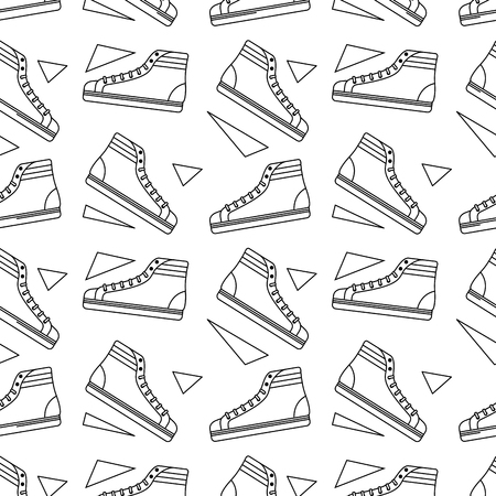 Seamless pattern classic sneakers retro fashion vector illustration