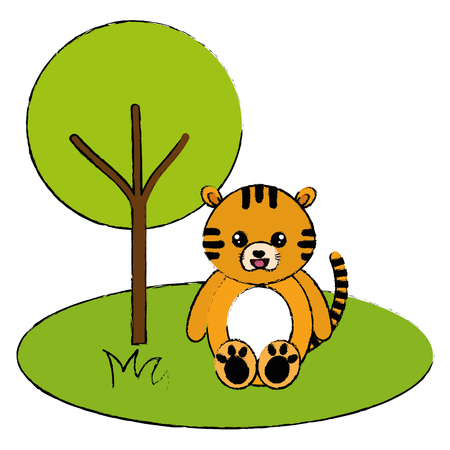 cute and tender tiger in the jungle character vector illustration design Foto de archivo - 94432590