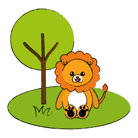 cute and tender lion in the jungle character vector illustration design