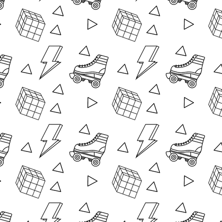 Seamless pattern roller skate and puzzle cube, memphis image, vector illustration