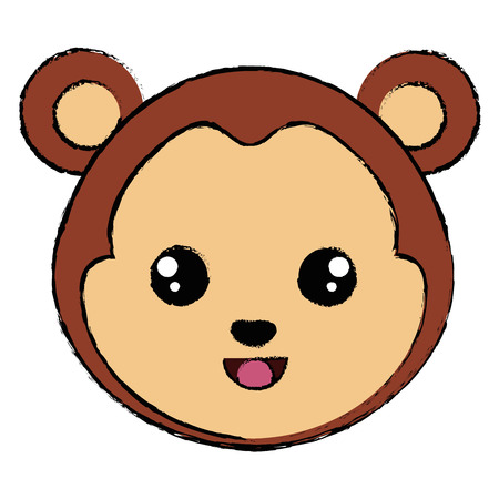 cute and tender monkey character head vector illustration design Иллюстрация