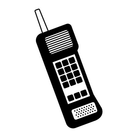 Oude mobiele telefoon uitstekende communicatie pictogram vectorillustratie