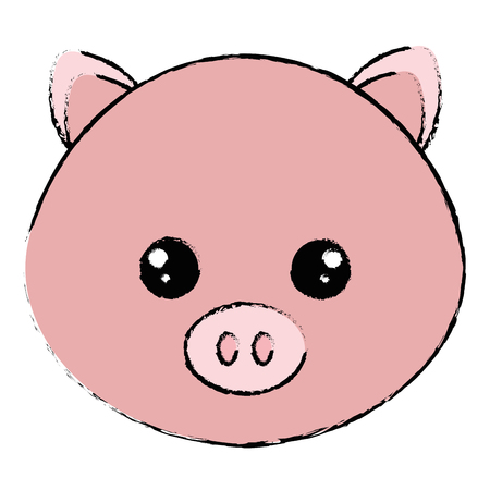Cute and tender pig head character vector illustration design 向量圖像