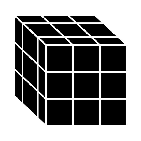 Cube toy puzzle vintage icon vector illustration Illusztráció