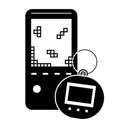 Draagbare videogameconsole en tamagotchi-stuk speelgoed vectorillustratie