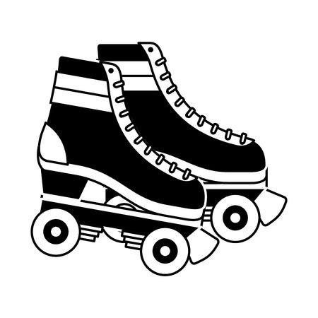 Retro rolschaatsen wielen trendy vintage vectorillustratie Stock Illustratie