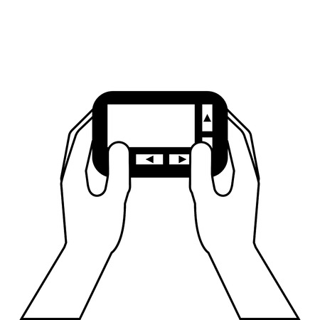 Hand holding pager digital button vector illustration