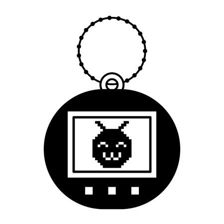 Tamagotchi game with pixel animal pet simulator vector illustration