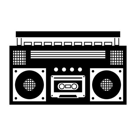 retro stereo cassette player music recorder vector illustration