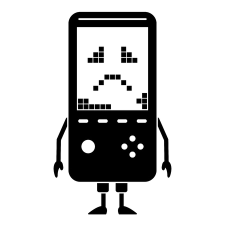 Sad portable video game console character illustration