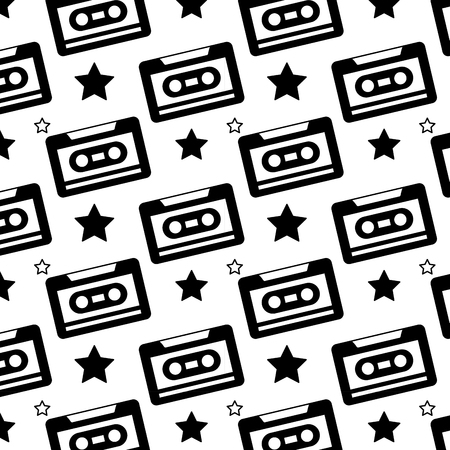 Naadloze patroon retro cassetterecorder vectorillustratie