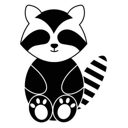 Leuk en teder vector de illustratieontwerp van het wasbeerkarakter