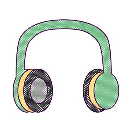 古いヴィンテージステレオヘッドフォン音楽ベクトルイラスト