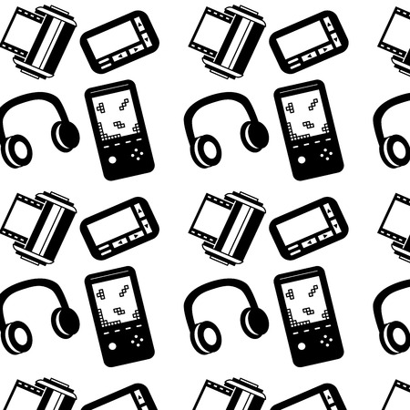 Seamless pattern retro vintage video game headphones pager roll photo vector illustration