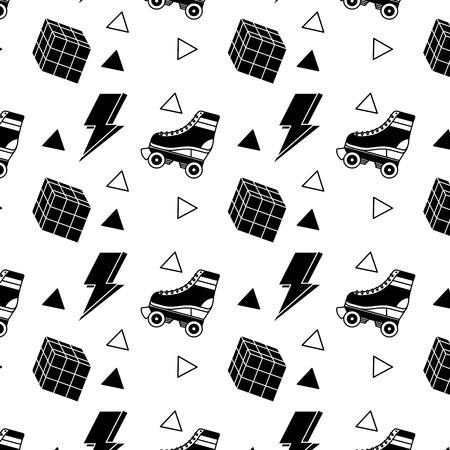 seamless pattern roller skate and cube memphis image vector illustration