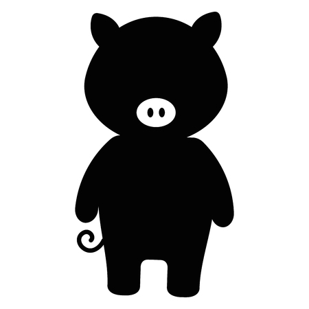 Pig character illustration in black and white. 向量圖像