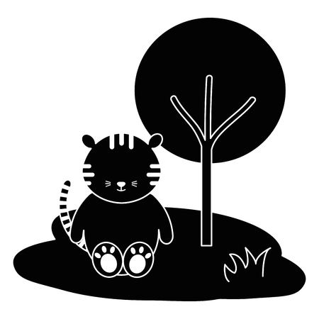 Tigre bonito e terno na selva personagem ilustração vetorial design Foto de archivo - 94432570