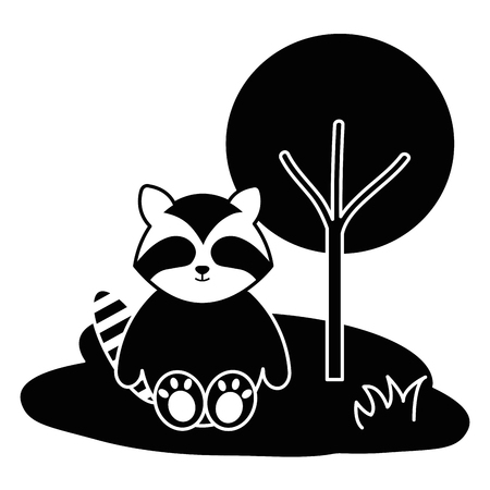 Cute and tender raccoon in the camp character vector illustration design 일러스트