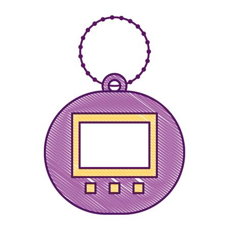 Toy for children electronic pet tamagotchi retro vector illustration