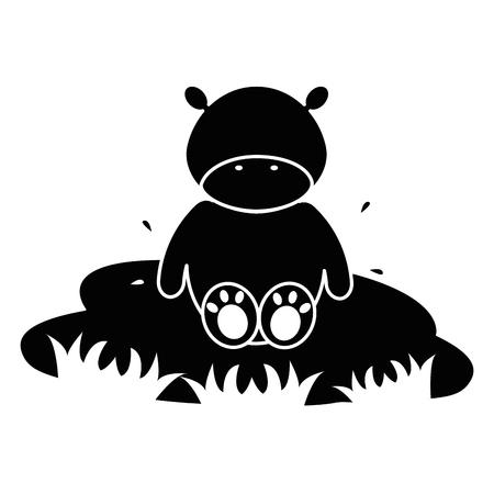 schattig en teder nijlpaard in het meer karakter vector illustratie ontwerp