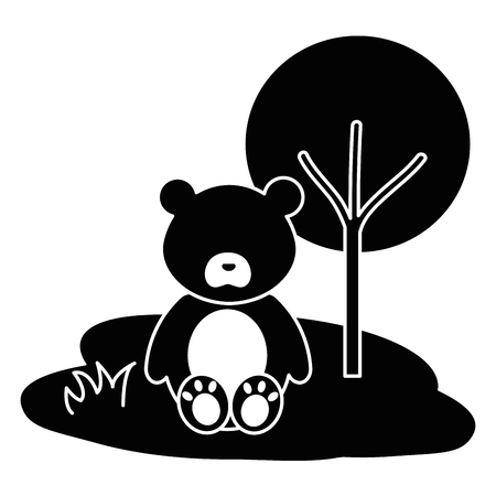 cute and tender bear in the camp character vector illustration design Illustration