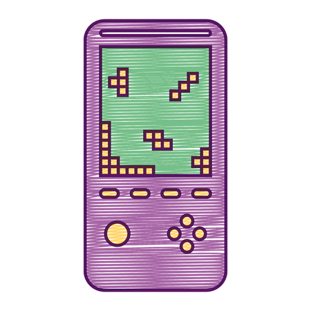 Retro portable video game console device vector illustration
