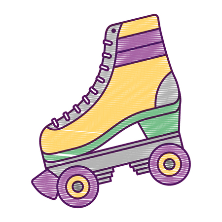 Classic roller skate laced wheels, retro fashion, vector illustration