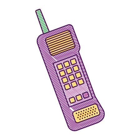 오래 된 휴대 전화 빈티지 통신 아이콘 벡터 일러스트 레이 션