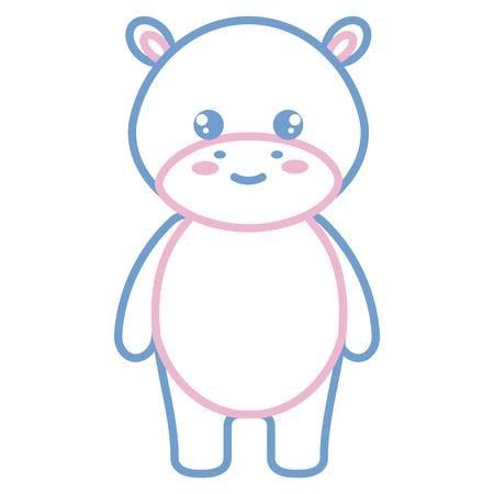 Cute and tender hippopotamus character illustration design