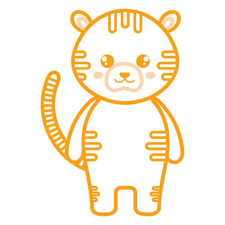 Cute and tender tiger character  illustration design