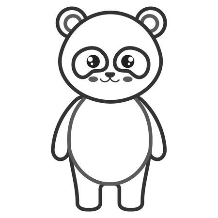 cute and tender bear panda character vector illustration design