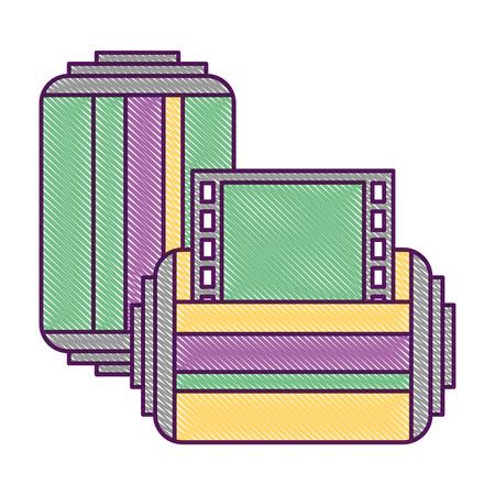 Two roll tape photo negative retro design vector illustration