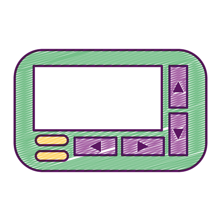 Retro technology emergency call pager vector illustration