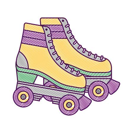 Retro roller skates wheels trendy vintage vector illustration