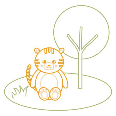 cute and tender tiger in the jungle character vector illustration design Foto de archivo - 94432483